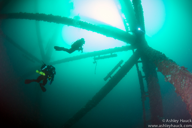 Rebreather divers at Ellen-Elly oil rig