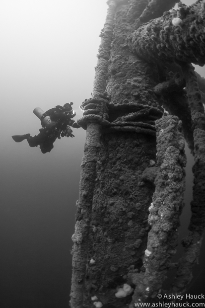 Rebreather diver at Ellen-Elly oil rig