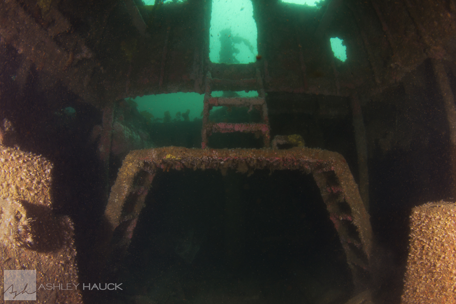 Former location of the mast, viewed from the engine room hatch
