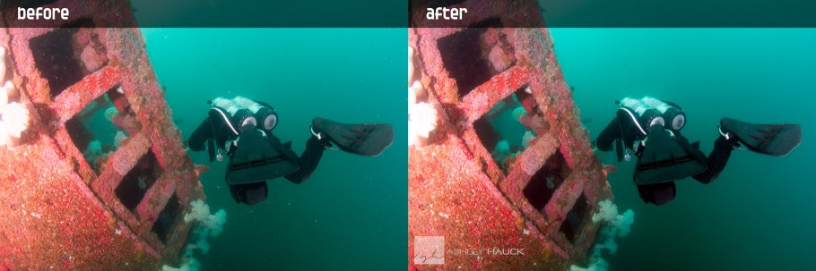 Diver on HMCS Yukon before and after backscatter removal