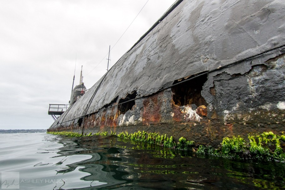 Damage on the Soviet B-39 Submarine at the Maritime Museum of San Diego
